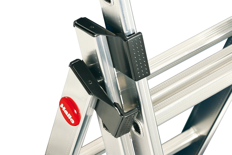 Hailo ProfiLOT.3 Escalera industrial 3 tramos de aluminio con estabilizador curvo LOT-SYSTEM 3 x 6 pelda/ños