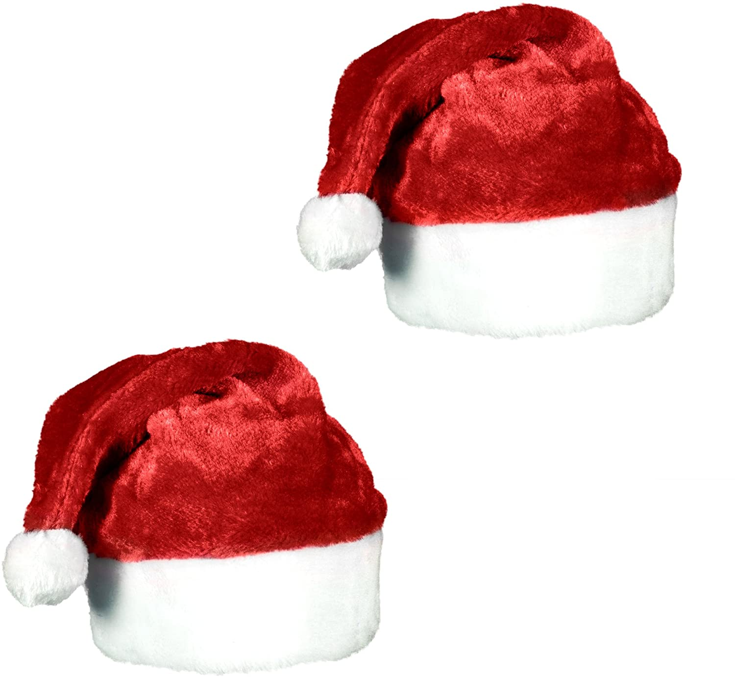 amazon com plush red velvet christmas santa hat with white cuffs 2 pack home kitchen plush red velvet christmas santa hat with white cuffs 2 pack