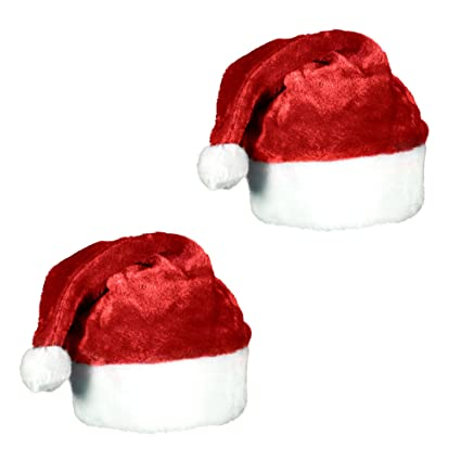 523ace466162c Amazon.com  Plush Red Velvet Santa Hat with White Cuffs (2 Pack)  Kitchen    Dining