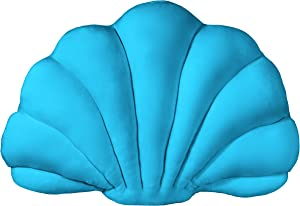 Shell Pillow in a Luxurious Fabric. Decorative Seashell Throw Pillow for Bed or Couch. Perfect Coastal Throw Pillows for Beach Home Decor. Pair it with Other Deco Sea Shell Shaped Pillows (Sea Blue)