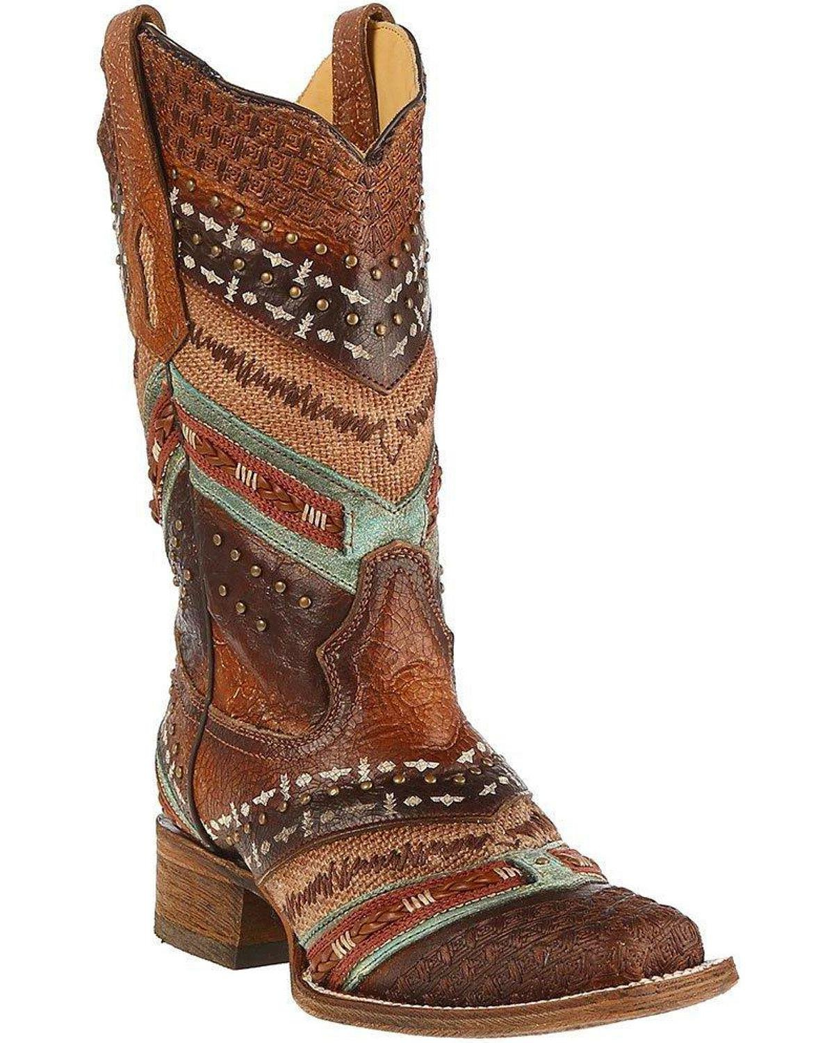 CORRAL Women's Turquoise and Embroidered Cowgirl Boot Square Toe - A3424 B072ZQMY11 6.5 B(M) US|Brown