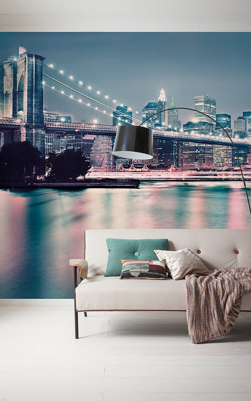 Tapete Manhattan Brooklyn Bridge 731-DV3 Vlies Fototapete NEON New York Komar Wand Dekoration 300x250 cm