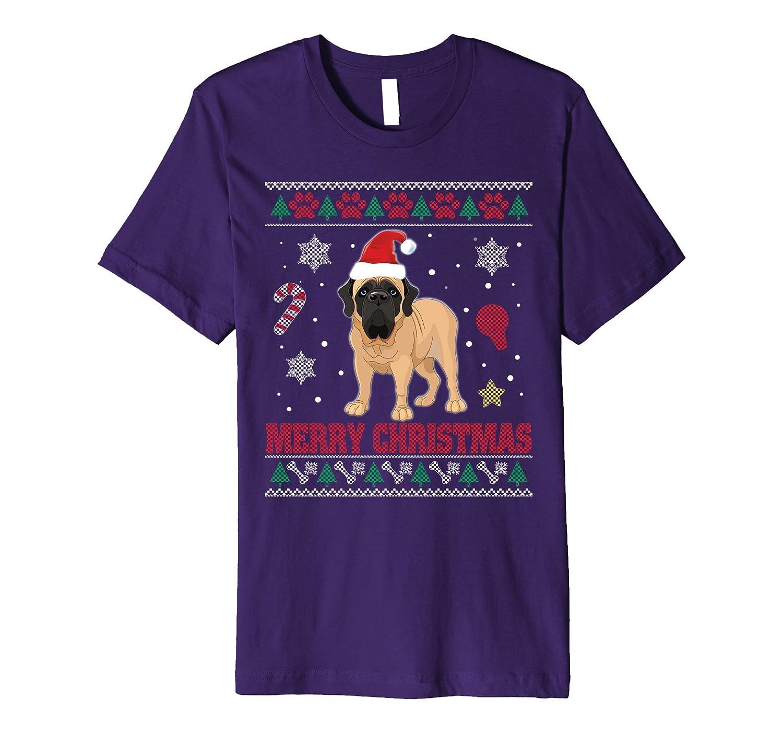ENGLISH MASTIFF Dog Merry Christmas T-Shirt Ugly Sweater 2-ANZ