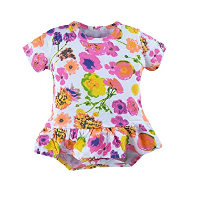 BIG ELEPHANT Baby Girls'1 Piece Floral Print Short Sleeve Romper Jumpsuit O54