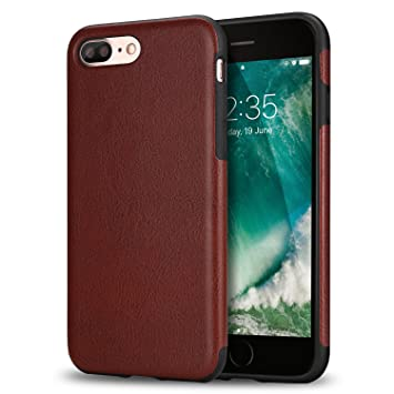 TENDLIN Funda iPhone 7 Plus Funda iPhone 8 Plus Cuero Silicona TPU Híbrido Suave Carcasa para iPhone 7 Plus y iPhone 8 Plus (Marrón)