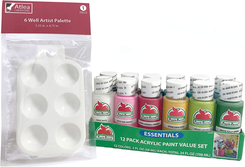 Apple Barrel Acrylic Paint Set with Complimentary Palette, Matte Finish (12 Bottles, 2-Ounces Each)