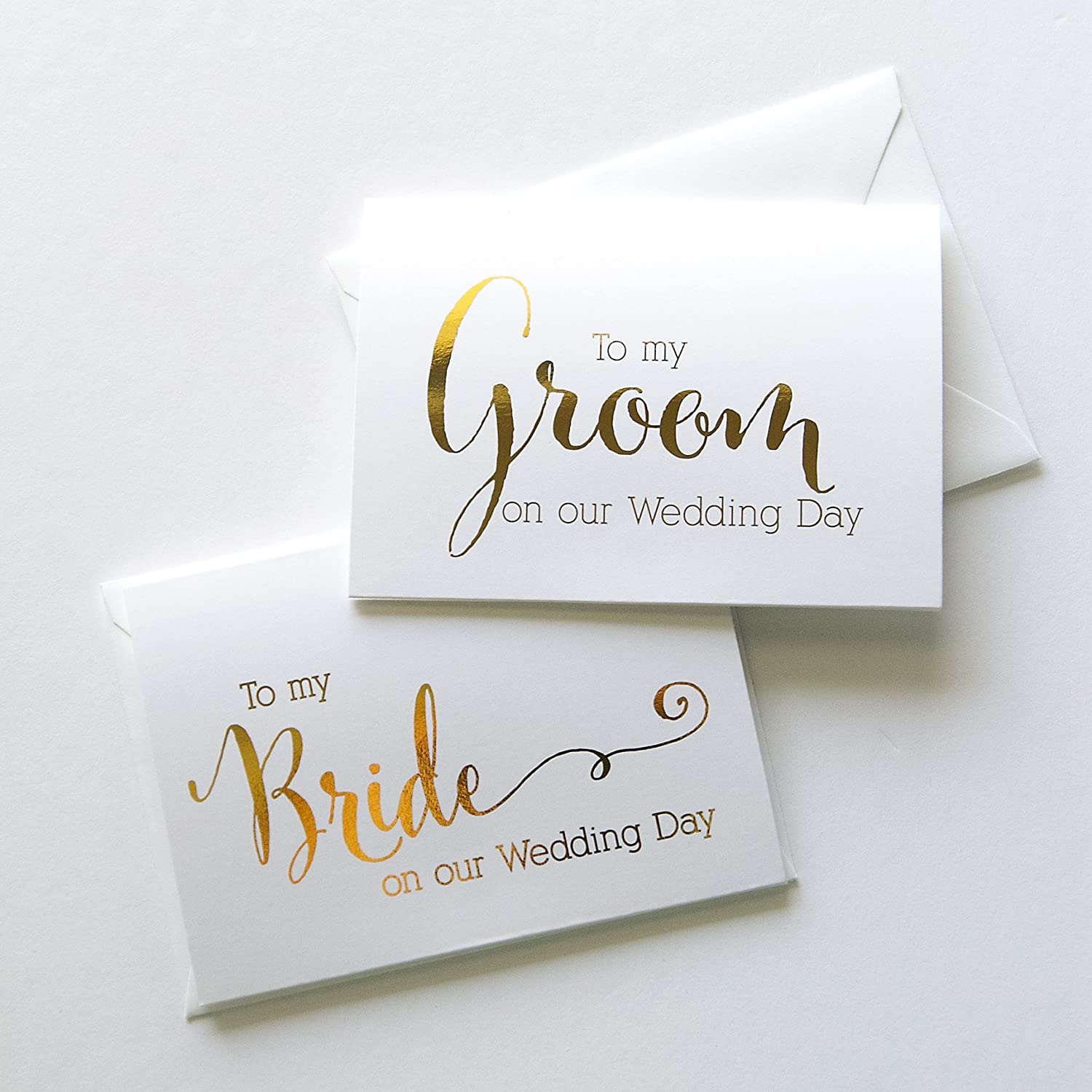 ff4abe24a99aa Wedding Day Foiled Card Set, To My Bride, To My Groom, Gold Foiled Vow  Cards (WD182-183)