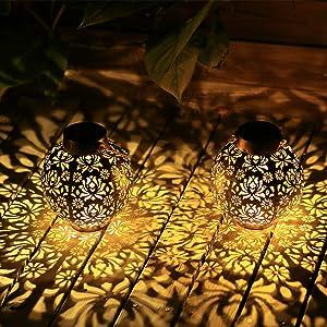 Solar Lanterns Outdoor 2 Pack Hanging Solar Lights Outdoor Retro Solar Lanterns Outdoor Waterproof Garden Decoration…