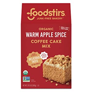 Foodstirs Junk-Free Bakery Organic Warm Apple Spice Coffee Cake Baking Mix 20.5 oz | Sweets & Treats | Non-GMO | Limited Holiday Edition