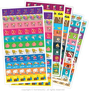 Planner Activity Stickers - Cute Designs, Homework2 - Daily Activities, Calendar Planner and Event Reminder Stickers, Pack of 396