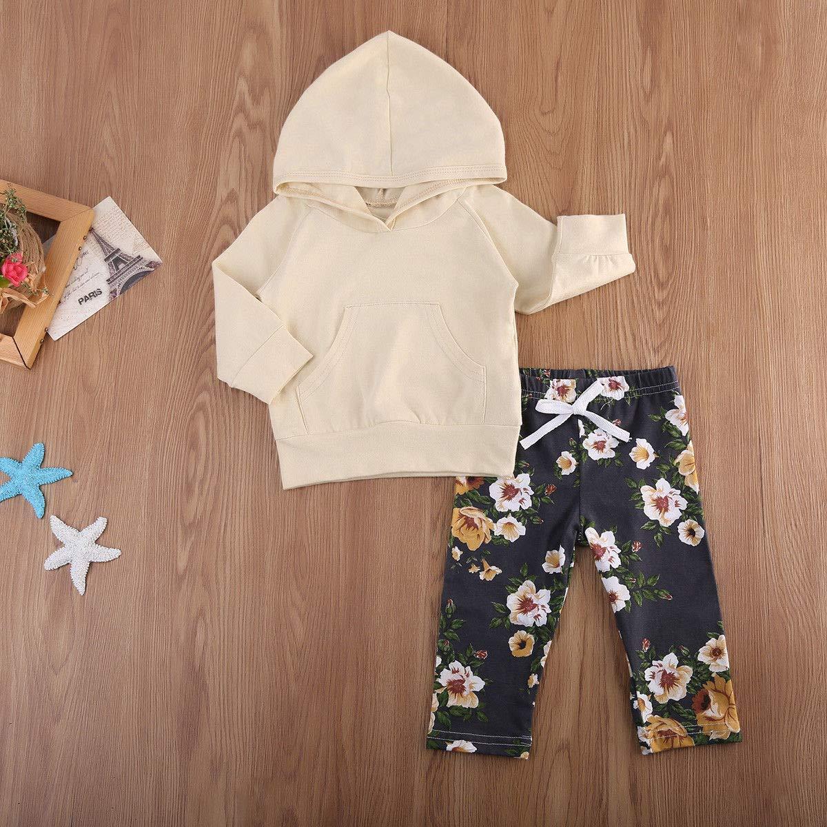 PDYLZWZY Baby Kleidung M/ädchen Junger Kleinkind Langarm Hoodie Oberseiten Hosen Outfits Set 2pcs Baby Kleidung Set M/ädchen Kleidung Outfits Baumwolle 6-24 Monate