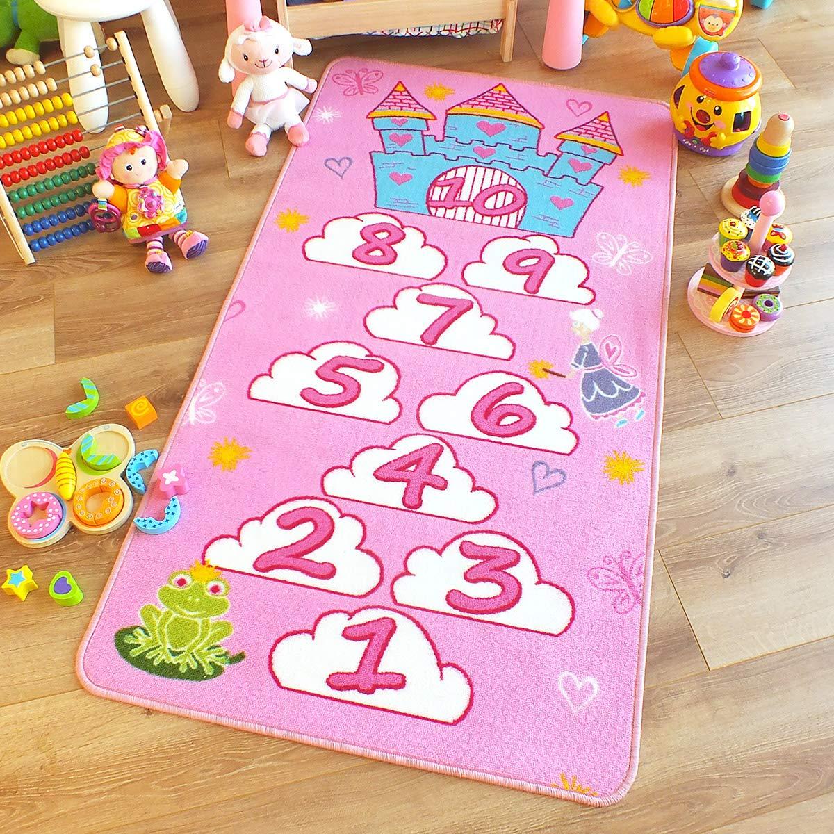 The Good Rug Company - Tappeto con disegno di gioco della campana e castello, 80 x 150 cm, colore: rosa