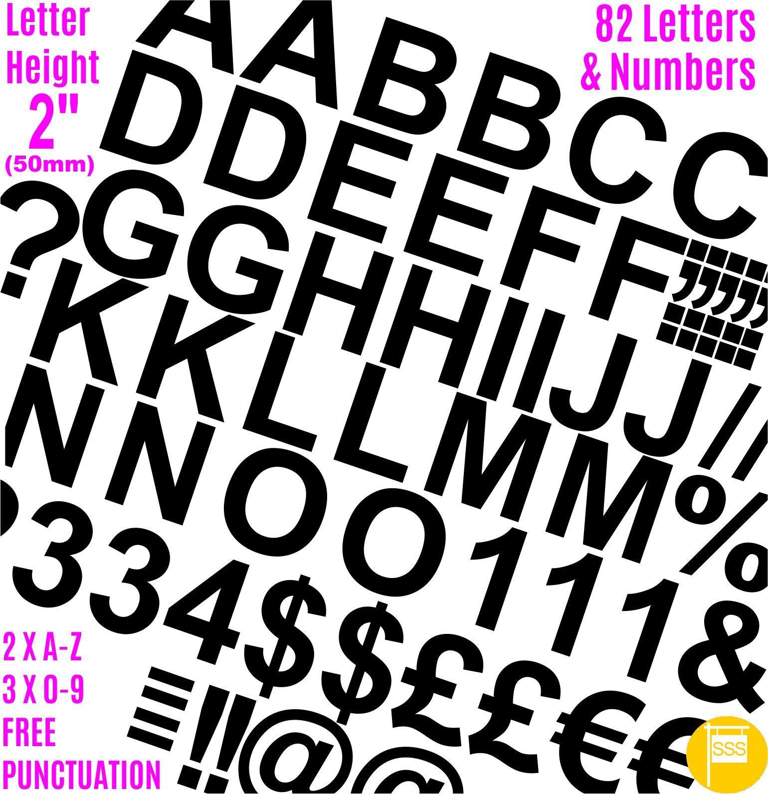 Professional Pack of 82 pcs X 2''(50mm) Self Adhesive BLACK Letters & Numbers Stickers Free Punctuation Washproof Large Lettering Signwriting Water Proof Any Project