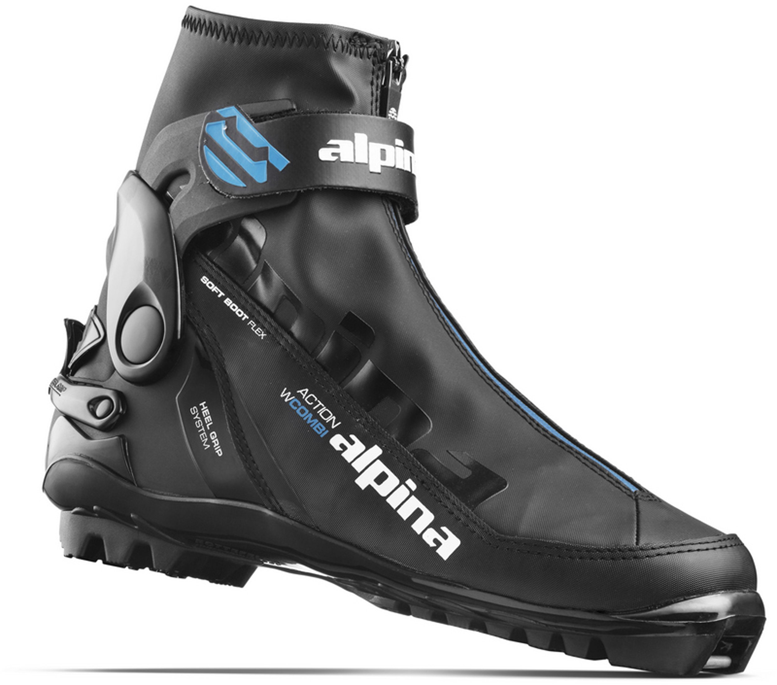 Alpina Sports Women's A Combi Eve Classic Cross Country Ski Boots, Black/Blue/White, Euro 38 by Alpina