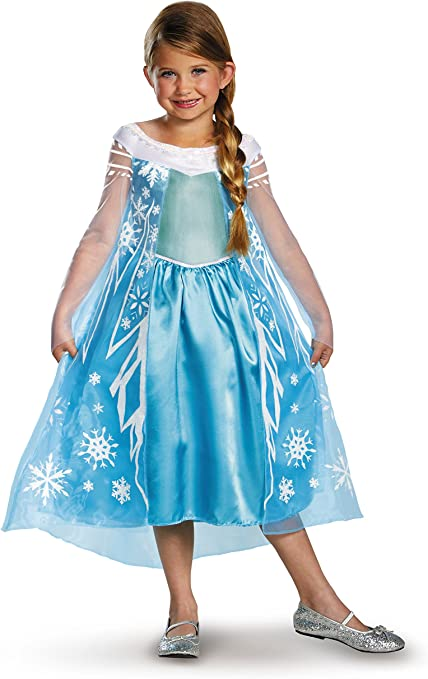 PRINCESS  ELSA AND ANNA FROZEN GIRLS DRESS UP COSTUME COSPLAY BLUE 3 SIZES NEW