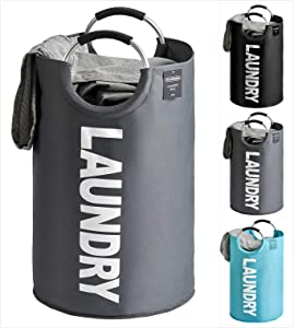 YOUDENOVA 82L Large Laundry Basket - Collapsible Portable Laundry Fabric Hampers Tote Bag - Foldable Cloth Washing Bin - Grey