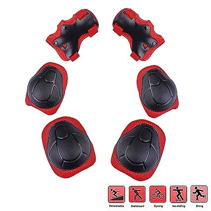 QH-Shop Protecciones de Patinaje para Niños,Niños Kit Protección Ajustable Incluido muñequeras Coderas Rodilleras para Kids Skate BMX Scooter ...