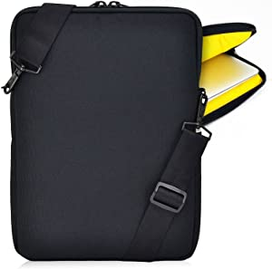 Turtleback Padded Sleeve Bag for Apple 15in MacBook Laptop, Case with Adjustable Straps Black/Yellow, Made in USA