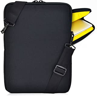 product image for Turtleback Padded Sleeve Bag for Apple 14in MacBook Laptop, Case with Adjustable Straps Black/Yellow, Made in USA