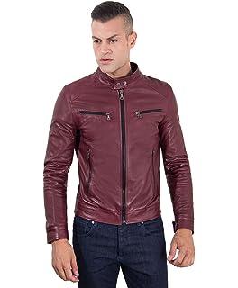 802e4689b69f D Arienzo - Hamilton • Couleur Bordeaux • Blouson Cuir Homme Style Motard  Cuir d