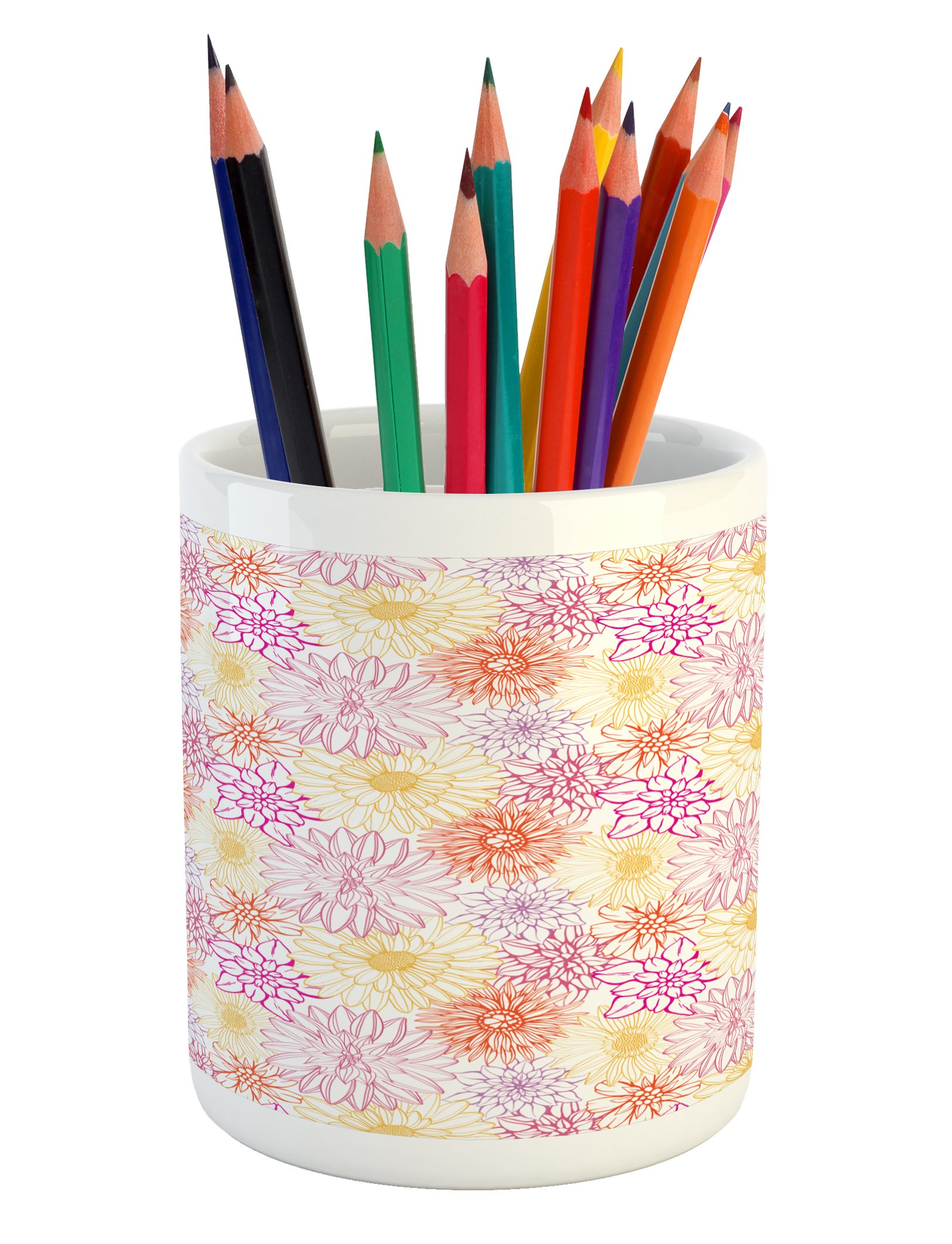 Ambesonne Floral Pencil Pen Holder, Blossom Spa Gardening Theme Flower Petals Essence Bouquet Art, Printed Ceramic Pencil Pen Holder for Desk Office Accessory, Pale Yellow Dark Coral Fuchsia