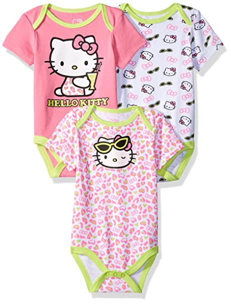 Amazon Com Hello Kitty Baby Girls 3 Pack Bodysuits Clothing