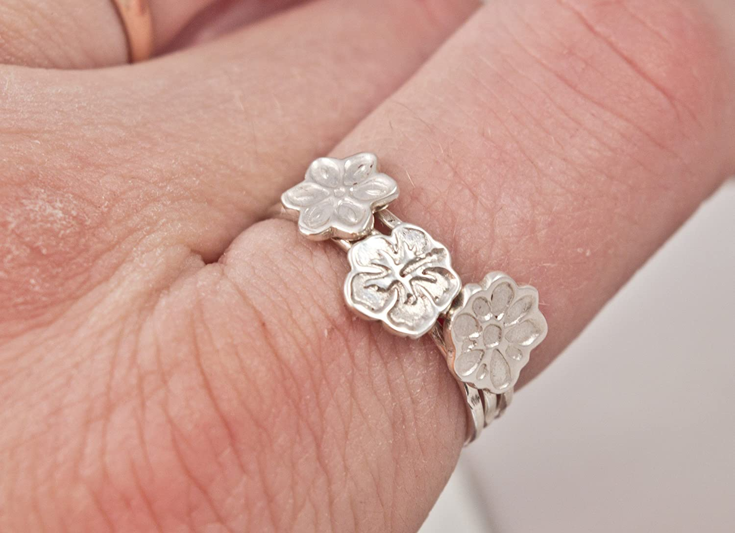Amazon.com: Hibiscus ring - flower ring - floral ring - sterling ...