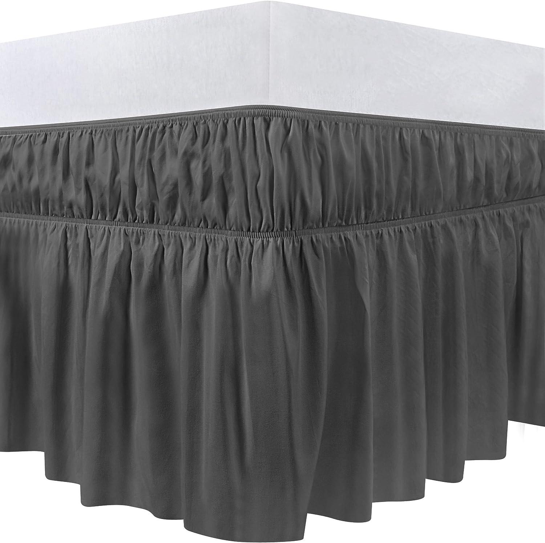 Utopia Bedding Twin Elastic Bed Ruffle Skirt (Grey)