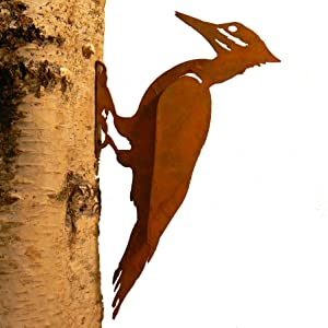 Elegant Garden Design Pileated Woodpecker, Steel Silhouette with Rusty Patina