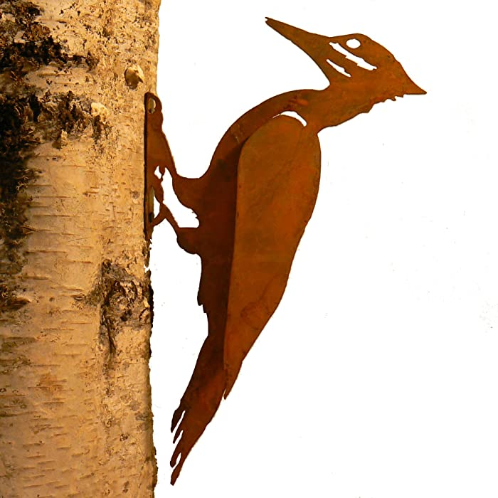 Elegant Garden Design Pileated Woodpecker, Steel Silhouette with Rusty Patina