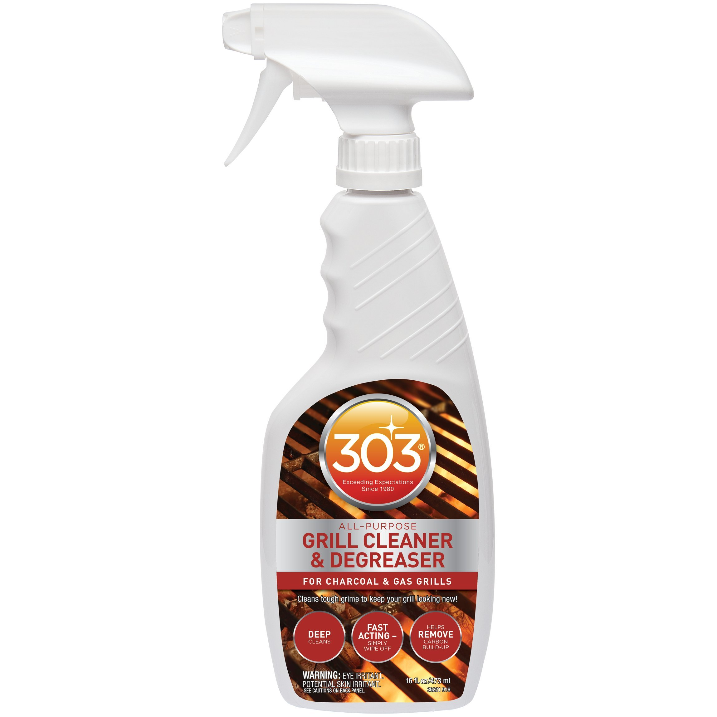 303 Grill Cleaner and Degreaesr - Professional Strength, Biodegradable for BBQ Grills and Grates, 16 fl. oz. spray, Pack of 6