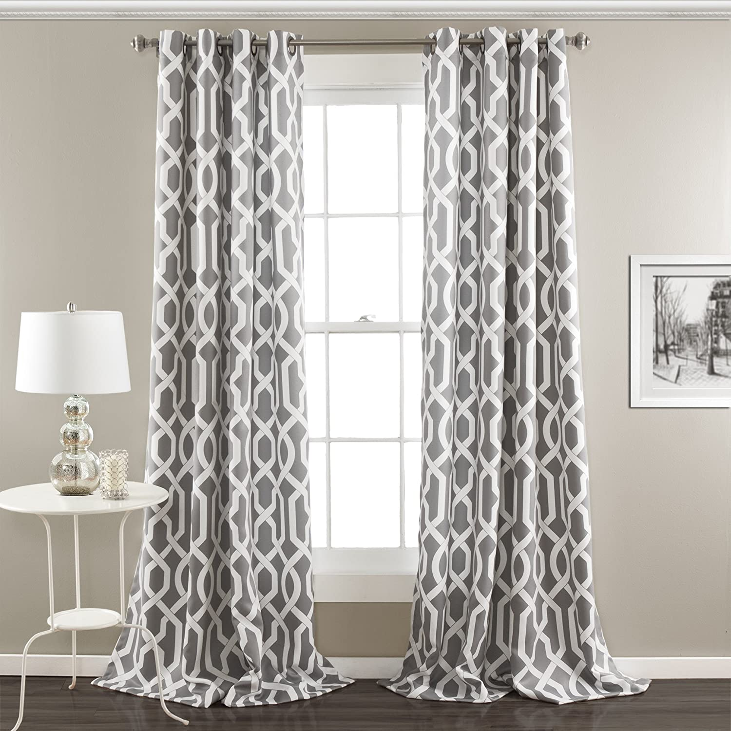 "Lush Decor Edward Trellis Curtains Room Darkening Gray Window Panel Set for Living, Dining, Bedroom (Pair), 95"" L"