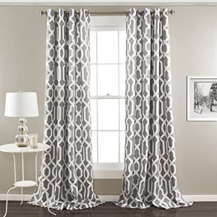 Lush Decor Edward Trellis Room Darkening Window Curtain Panel Pair 108 Inch X 52