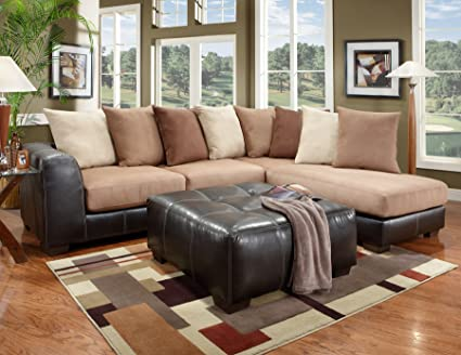 Roundhill Furniture Laredo Mocha/Brown 2 Toned Sectional Sofa Chaise Set  With Brown Ottoman