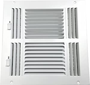 Accord ABSWWH41010 Sidewall/Ceiling Register with 4-Way Design, 10-Inch x 10-Inch(Duct Opening Measurements), White