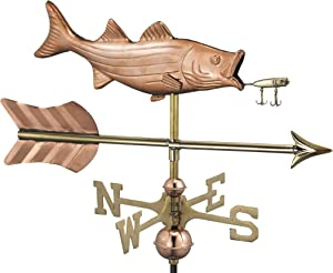 Good Directions Bass with Lure and Arrow Garden Weathervane - Pure Copper with Garden Pole
