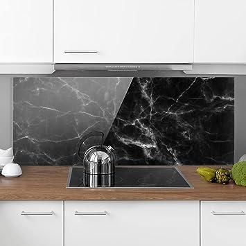 Bilderwelten Spritzschutz Glas - Nero Carrara - Panorama Quer ...