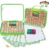 Alphabet Rubber Stamps - 67 Pcs. Set of ABC, Numbers, Emojis w/ Non-Toxic, Washable 3 Color Ink Pad and Carrying Case. Crafts for Children, Teachers and Parents. Fun Travel Toy for Kids. Amazing Gift!