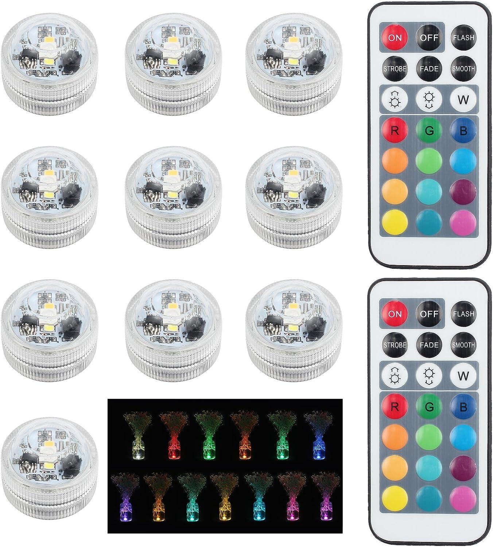 Justech 10pcs Luces Sumergibles Impermeables LED SMD5050 Luces del Acuario Estanque Lámpara Subacuática Luz de la Vela Luz del Humor con Control Remoto de 20 Teclas para Fiesta Piscina