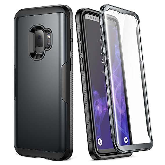 new arrival 22f87 1a6c9 Galaxy S9 Case, YOUMAKER Metallic Black with Built-in Screen Protector  Heavy Duty Protection Shockproof Slim Fit Full Body Case Cover for Samsung  ...
