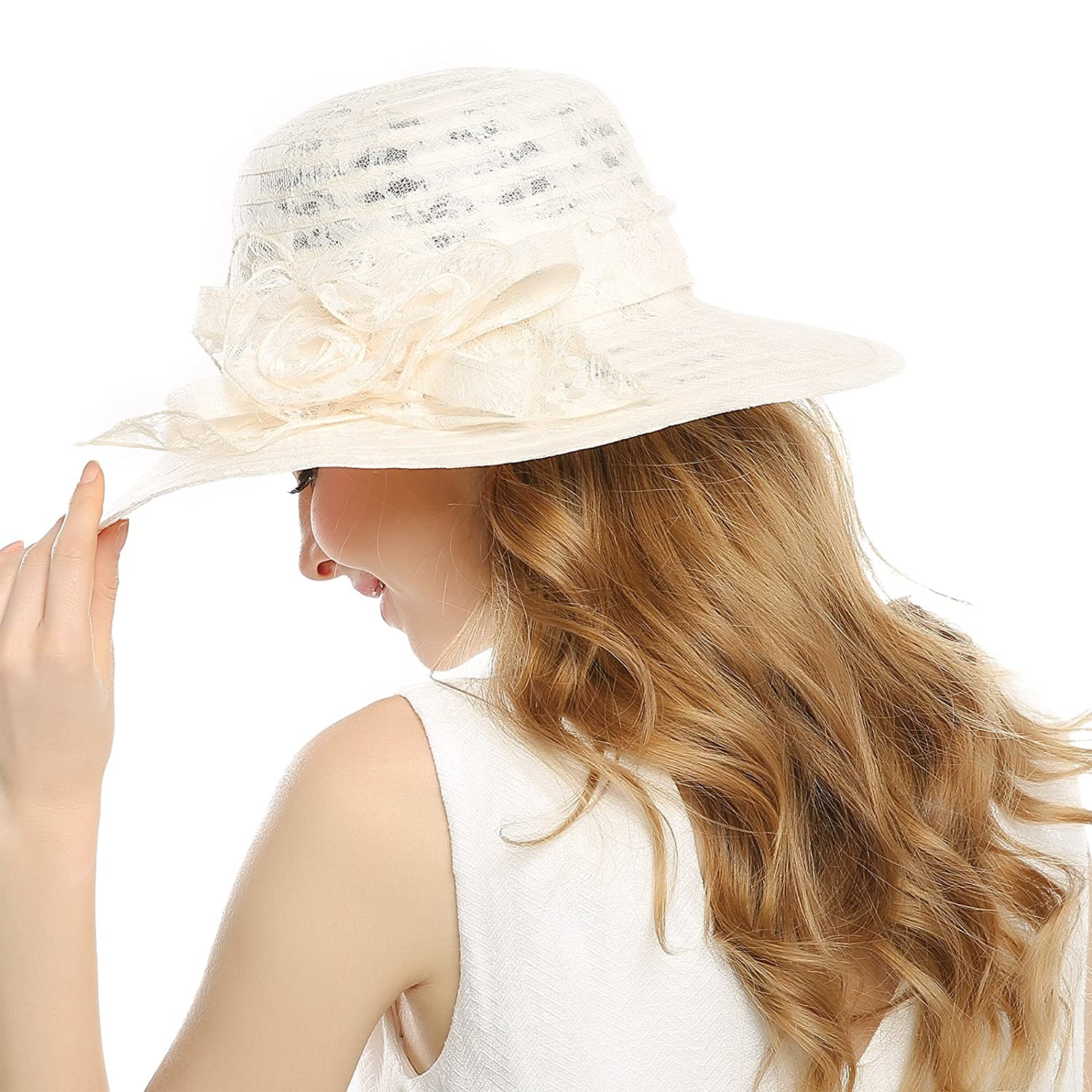 fab83728 WELROG Women's Kentucky Derby Church Hat - Foldable Floppy Dress Hats  Fascinators Fancy Wide Brim Tea Party Wedding Sun Hats (Beige #3) at Amazon  Women's ...