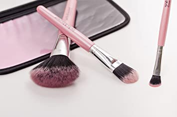9223949a3 Amazon.com: 3pcs Makeup Beauty Brushes Set With Pouch (Pink): Beauty