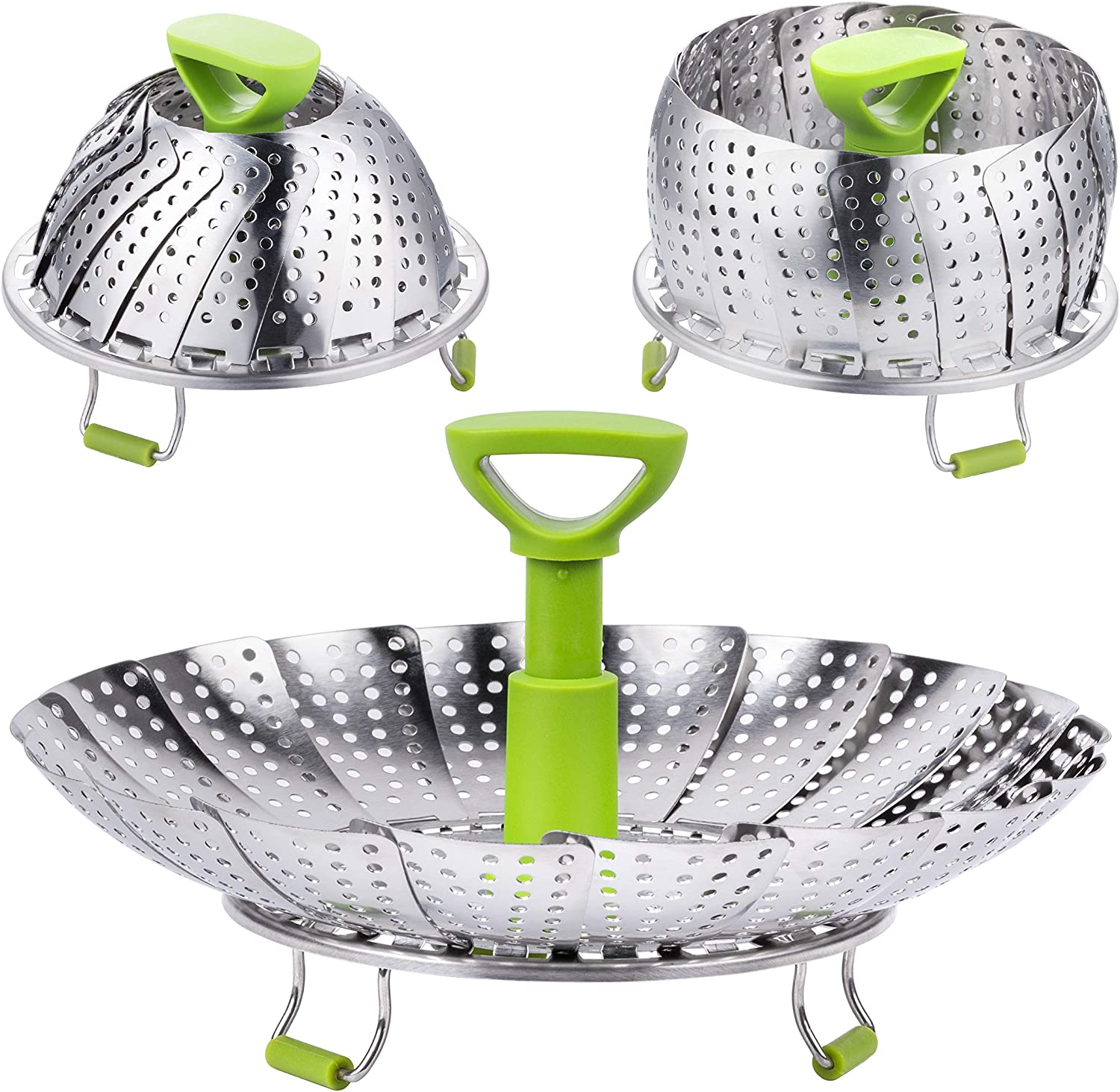 Steamer Basket, Kmeivol Vegetable Steamer Basket, Stainless Steel Vegetable Steamer, Steamer Pot with Extendable Handle for Steaming Food, 5-9 Inch Expandable Veggie Steamer to Fit Various Size Pot