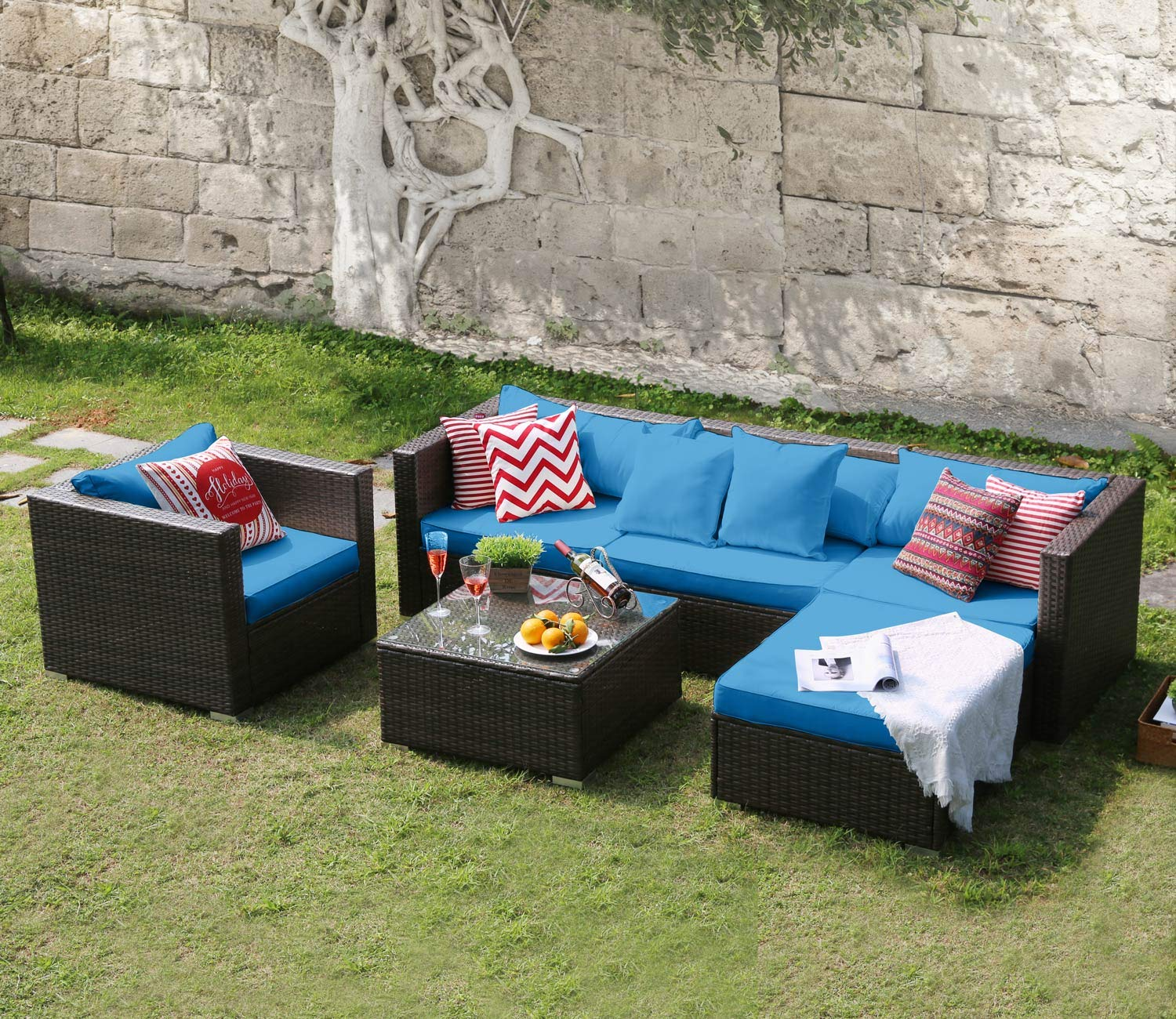 Amazon.com: Tribesigns 6 Pieces Outdoor Patio Furniture Set ...