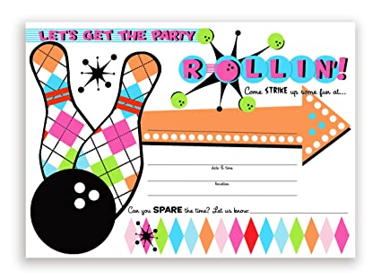 Amazon Com Bowling Party Large Invitations Pink 10 Invitations