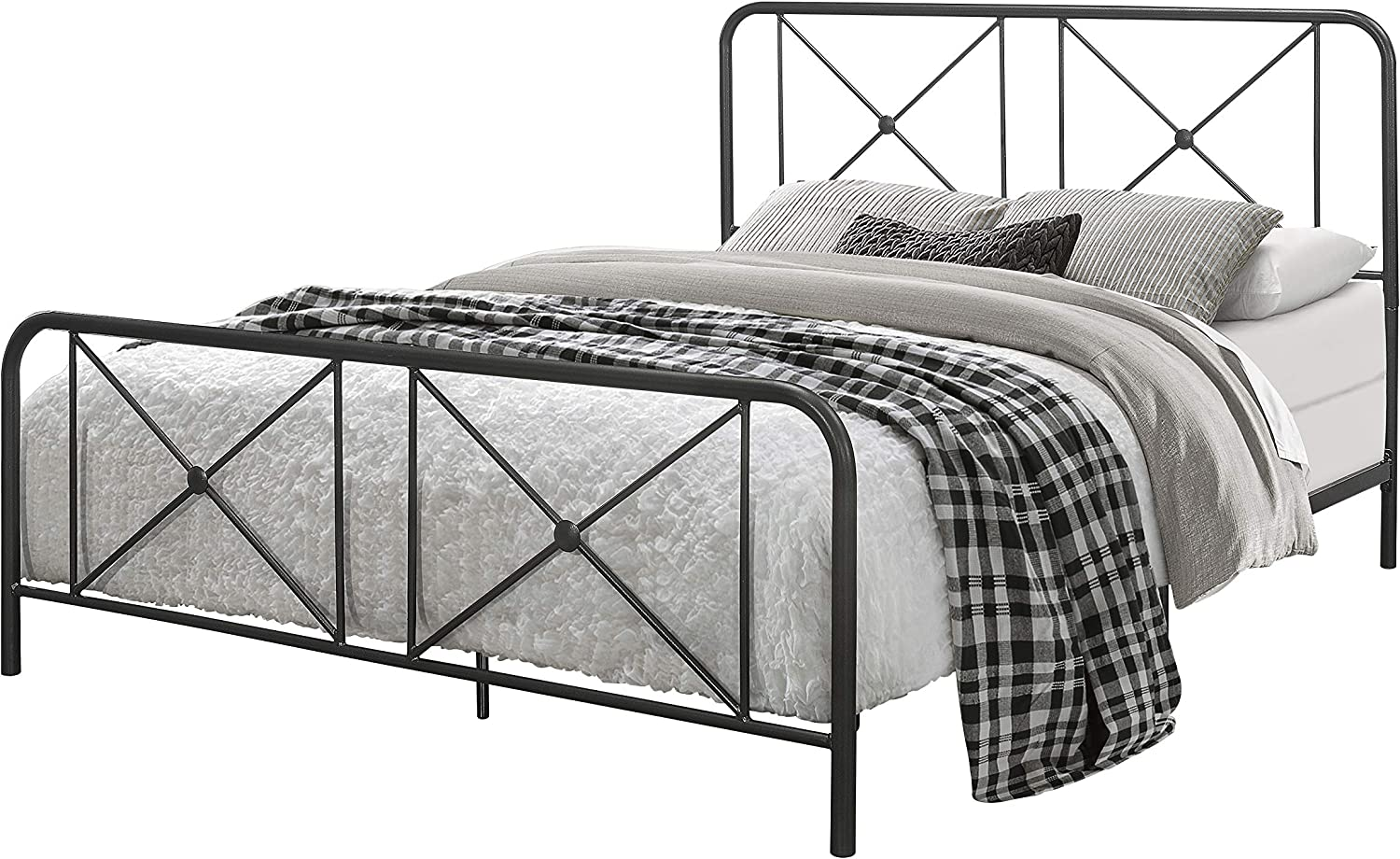 Hillsdale Furniture Queen Metal Bed with Double X Design Platform, Black