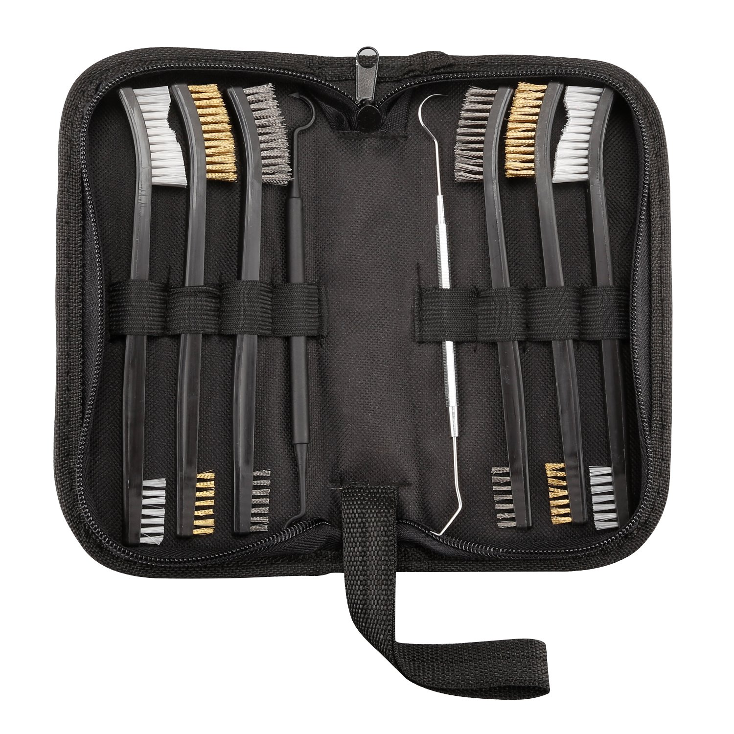Gun Cleaning Brush and Pick Set, Double Ended Nylon/Brass/Stainless Steel Gun Cleaning Set and 2 Double Ended Picks, 8 Pcs Gun Cleaning Kit
