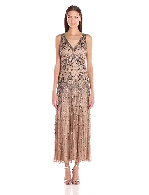 1920s Style Dresses, Flapper Dresses Pisarro Nights Womens Long Double V Floral Motiff Dress with Mesh Skirt $228.00 AT vintagedancer.com