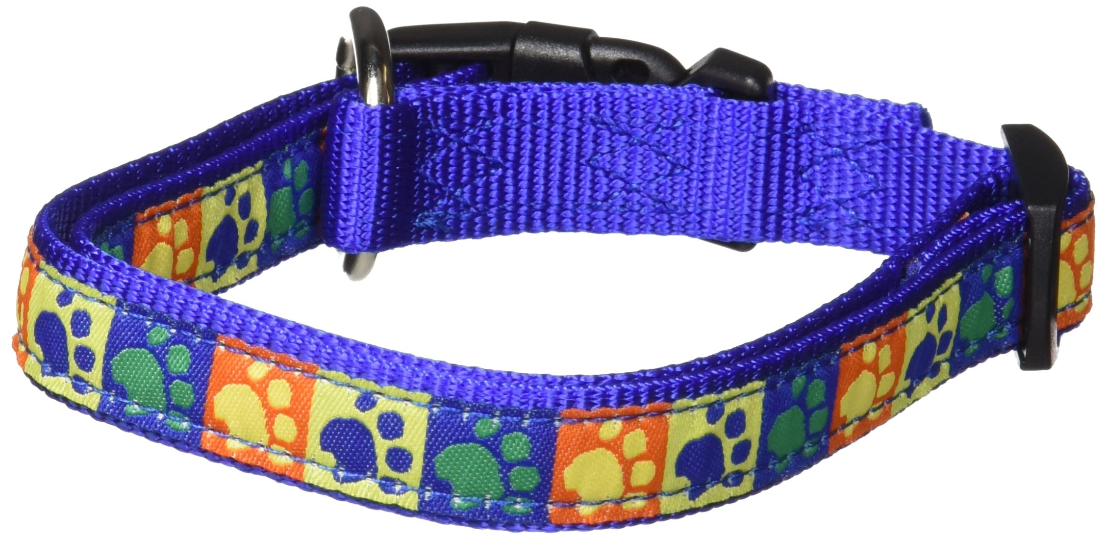 Hamilton 5/8'' x 12''-18'' Adjustable Dog Collar with Primitive Paws Patterned Ribbon Overlay, Small