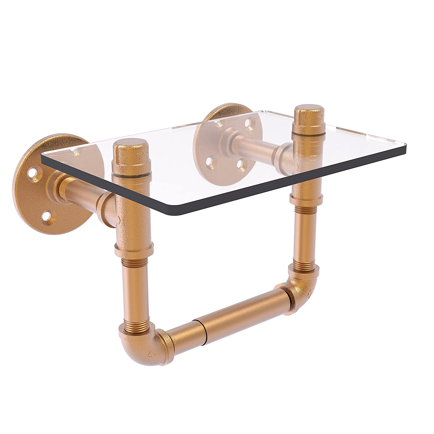 Allied Brass P-130-TPGS-BBR Pipeline Collection Toilet Tissue Holder with Glass Shelf Brushed Bronze